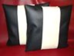 Leather Black /Cream Cushion Covers